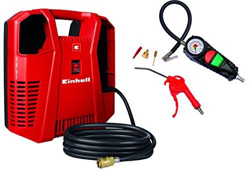 Einhell Kompressoren-Set TC-AC 190/8 OF Set (1.100 W, max. 8 bar, 3 m Druckluftschlauch mit Schnellkupplung, inkl. Ausblaspistole, Reifenfüllmesser und 3-tlg. Adapter-Set)