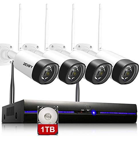 REIGY Kit Videosorveglianza Wi-Fi Esterno Audio Bidirezionale, 3MP H.265 Sistema di Telecamera Sorveglianza con 8CH NVR+4*Videocamere IP, Plug and Play Visione Notturna Accesso Remoto 1TB HDD