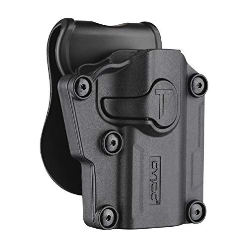 Tactical OWB Paddle Holster, 360 Adjustable Polymer Belt Holster for Colt 1911 Beretta Bersa CZ FN Girsan Hi-Point Kahr Ruger Sig-Sauer Smith&Wesson Springfield Steyr Taurus Walther & More Pistols-RH