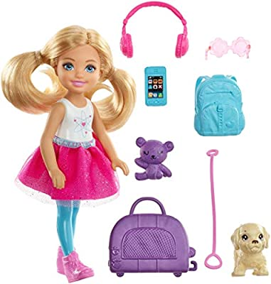 Send curious minds around the world with Chelsea doll and a travel-themed set inspired by Barbie Dreamhouse Adventures that comes with a puppy for a travel companion, a pet carrier and colorful travel-themed pieces Chelsea doll's purple pet carrier...