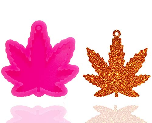 Maple Leaf Silicone Molds Leaves Shaped Keychain Molds with Hole DIY Ice Cream Gum Paste Crystal Pudding Desserts Candy Jelly Shots Fondant Mold Cupcake Cake Topper Decoration