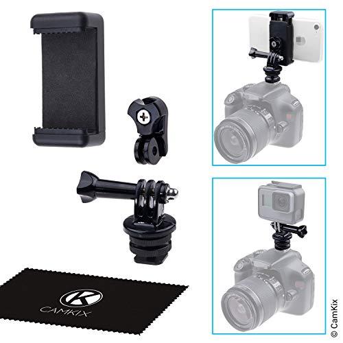 CamKix Kit Supporto Adattatore Flash Hot Shoe - Collega il tuo Telefono o Telecamera action camera al Supporto Flash della tua Fotocamera DSLR - Registra il Tuo Photo Shoot o use App del Telefono