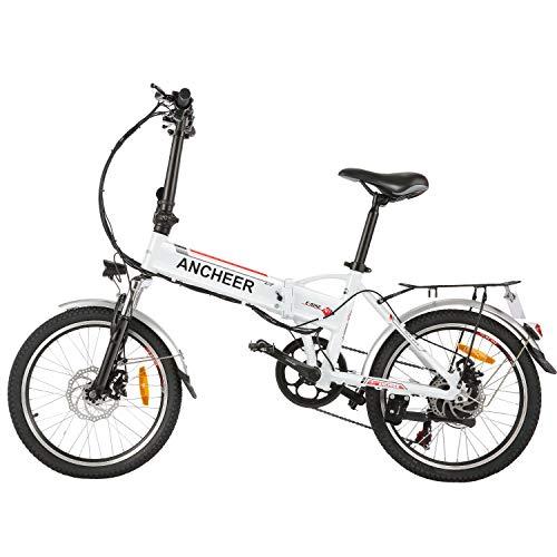 Vélo électrique Pliant ANCHEER pour Adultes, vélo électrique/vélo de Banlieue 20' avec Moteur 250W, Batterie 36V 8Ah, Engrenages de Transmission Professionnels à 7 Vitesses.