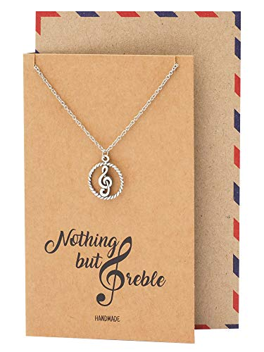 Quan Jewelry Musical Necklace, Gifts for Musician, G Clef...