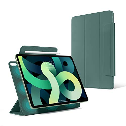 2020 New iPad Air 4th Gen 10.9 Rebound Magnetic Smart Case,Ultraslim Cover with Convenient Magnetic Attachment[Supports Pencil Pairing & Charging],Trifold Stand Case with Auto Sleep/Wake (Green)