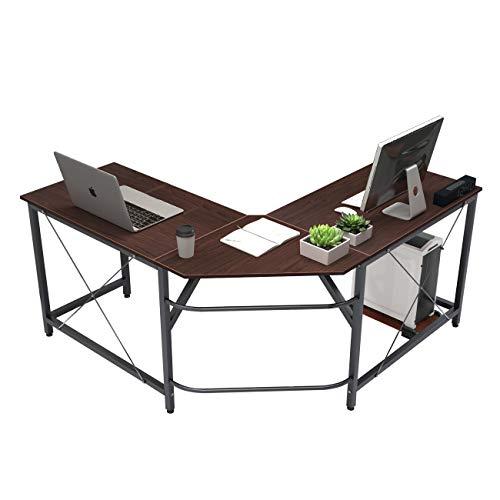 soges Eckschreibtisch L-Form Computertisch Winkelschreibtisch großer Gaming Schreibtisch Bürotisch Ecktisch Arbeitstisch PC Laptop Studie Tisch,150 cm + 150 cm,Walnuss