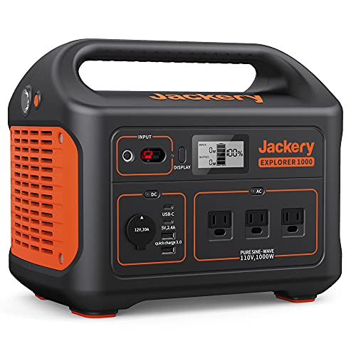 Jackery Portable Power Station Explorer 1000, 1002Wh Solar Generator (Solar Panel Not Included) with 3x110V/1000W AC Outlets