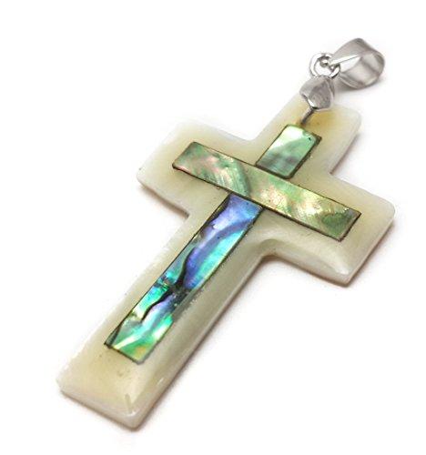 Pequeño colgante de cruz católica de concha de madre de perla hecho a mano de Jerusalén
