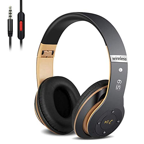 Auriculares Cerrados Inalámbricos 6S, Alta fidelidad Estéreo Auriculares Estéreo Inalámbricos Plegables, Micrófono Incorporado, Micro SD/TF, FM (para iPhone/Samsung/iPad/PC) (Negro y Oro)