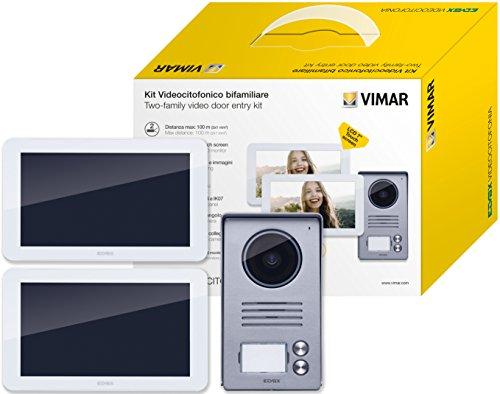 Vimar K40916 Kit Videocitofono 7' Touch Screen Bifamiliare con Alimentatore Multispina, Grigio la Targa Esterna-Bianco Il Monitor