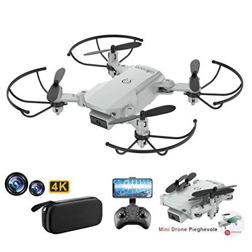 allcaca RC Mini Drone con Telecamera 4K HD Doppia, RC Quadcopter Drone Pieghevole WiFi FPV Drone, Un Pulsante di Decollo / Atterraggio, Modalit Senza Testa 3D Flip, per Bambini Regalo, Grigio