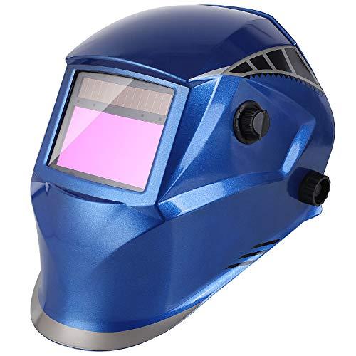 FIXKIT Schweißhelm, automatische Schweißmaske mit 16 Ebenen UV-Schutzstufen und 4 optischen Sensoren (Dunkelzustand: DIN 5-9/9-13), inkl. 6 Wechselgläser