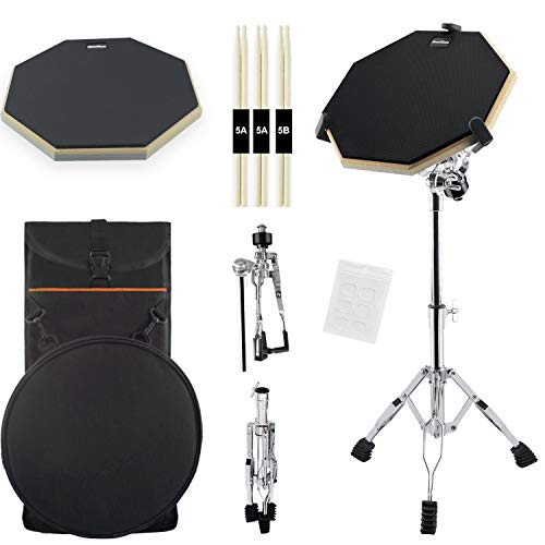 Silent Drum Practice Pad, 12 Inch Double Sided Drum Pad with Adjustable Snare Drum Stand and 3 Pairs of Drum Sticks for Drum Practice