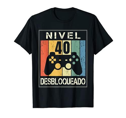 Nivel 40 Desbloqueado Gamer 40 Años 1981 Divertido Hombre Camiseta