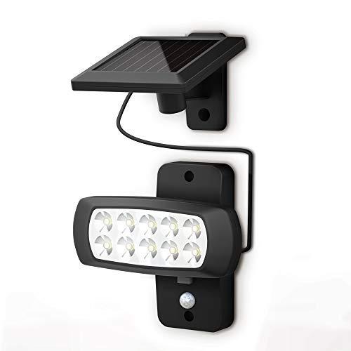 B.K.Licht   LED Außenstrahler mit Solar-Panel und Bewegungs- Dämmerungssensor   6.500K   IP44   für Garten, Hof und Garage I Solarlampe für Außen I Außenlampe I Außenleuchte