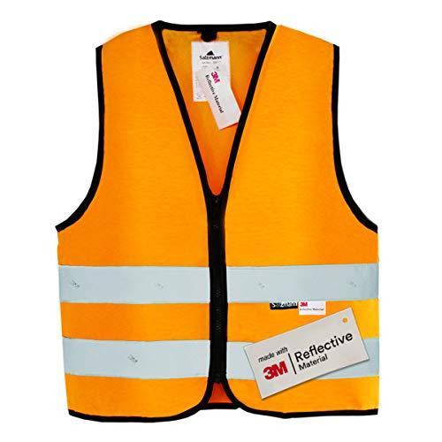 Salzmann Children's High Visibility Safety Vest w/ Zipper & 3M Reflective Material   Orange