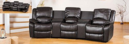 Nero a tre posti cinema divano in pelle di ottima qualit incollati Entertainment divani