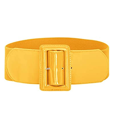 Material: Elastic Band(70%Polyester+30%Spandex)+PU Leather.Belt Width:7.5cm/3.0 inch. Fashion & Vintage Style: Elastic band in vintage chunky buckle belts for women dress in any seasons,This gorgeous patent leather belt is a must have accessory for a...