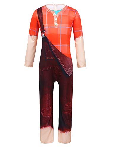 YiZYiF Disfraz Rompe Ralphh Niños Cosplay Sugar Games Body Completo Estampado 3D Mono Divertido Bata Disfraces Carnaval Traje Guay Fiesta Cumpleaños Naranja y Marrón 5-6 Años