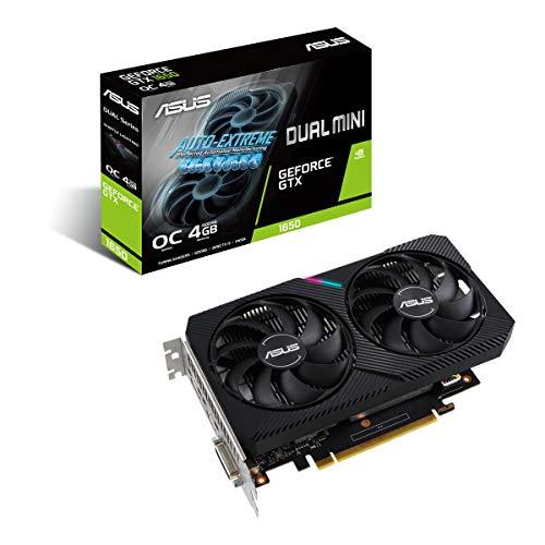 ASUS Tarjeta gráfica de Gaming Dual NVIDIA GeForce GTX 1650 Mini OC Edition (PCIe 3.0, 4GB GDDR6, HDMI, DisplayPort, DVI-D, para Intel NUC 9 Extreme Kit, Intel NUC 9 Pro Kit, y chasis pequeños)