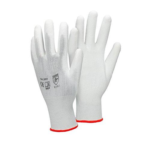ECD Germany 24 Paia Guanti da lavoro in PU, taglia 7-S, Colore Bianco, Guanti di Protezione in Nylon...