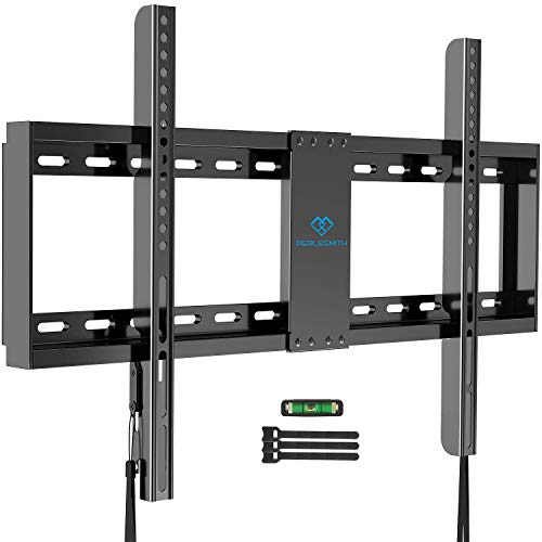 PERLESMITH Fixed TV Wall Mount Bracket Low Profile for 32-82 inch LED, LCD,and OLED Flat Screen TVs - Fits 16- 24 Wood Studs, Fix TV Mount with VESA 600 x 400mm Holds up to132lbs