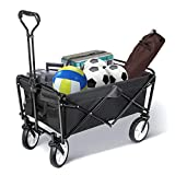 TOOCA Collapsible Folding Utility Wagon Outdoor, Heavy Duty Garden Cart with Universal Wheels, Adjustable Handle and 2 Cup Holders, Trolley Camping Cart for Grocery Camping Gardening Beach (Black)