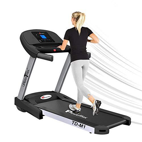 PowerMax Fitness TD-M1 2HP (4HP Peak) Pre-installed Motorized Steel Treadmill, Home Use & Semi Automatic Lubrication (Black)