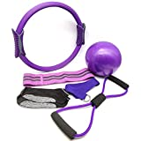 YXILEE 6Pcs Pilates Ring Set,Home Exercise Gym Workout Equipment Women,Yoga Circle Portable Equipment Include Ball Stretching Strap Loop Band Non Slip Socks for Fitness kit (6-PCS Purple Set)