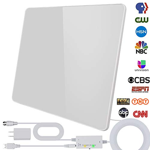 [2020 Newest] HDTV Antenna,Indoor Digital HDTV Antenna Amplified Support 4K 1080P VHF UHF & Older TV's Digital Antenna with Amplifier Signal Booster,17ft Coax Cable/USB Power Adapter (White)