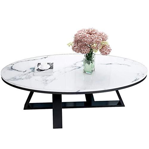Dynamic24 - Tavolino da salotto con luce in marmo, forma ovale, per laptop, soggiorno, balcone,...