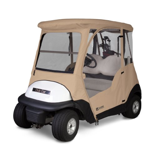 Classic Accessories Fairway Deluxe 4-Sided 2-Person Golf Cart Enclosure For Club Car, Tan