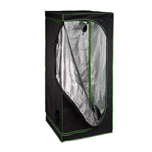 Relaxdays Grow Tent, Armadio Box per Coltivazione di Piante da Interno, Telo Riflettente in 180x80x80 cm, Nero/Verde, 80 x 80 x 180 cm