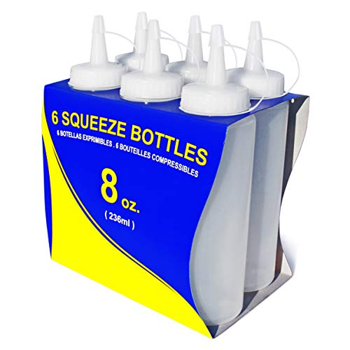 Squeeze Bottles, Plastic, 8 oz, Clear, Pack of 6
