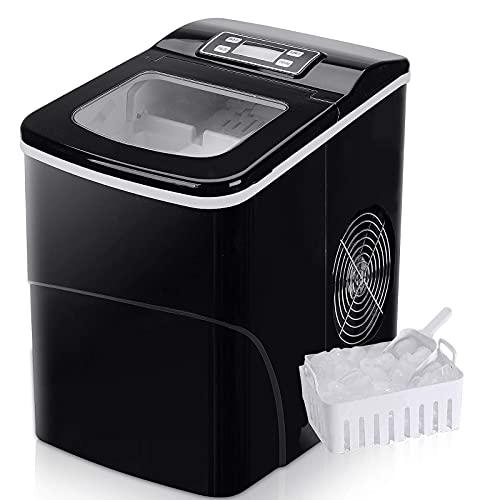 Macchina Ice Maker FOOING Ice Maker Ice Maker Ice Cube Maker Counter Top pronto in 6 Mins 2L Ice Machine con Ice Scoop e cestino Display LED Ice Maker per la cucina del bar di casa