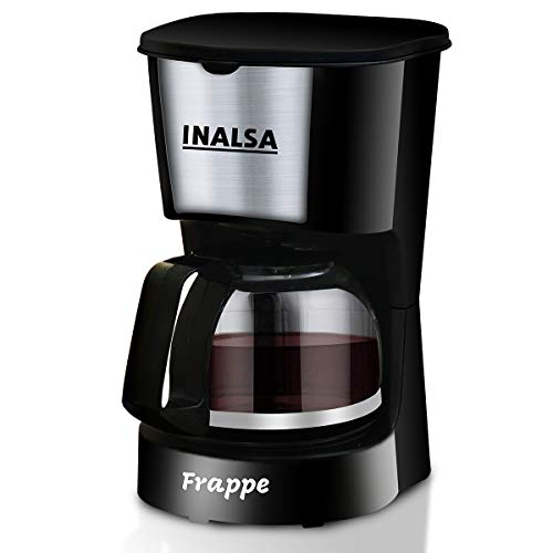 Inalsa Frappe 5 Cup (0.6L) 650-Watt Coffee Maker with Anti Drip & Keep Warm Function| Detachable Coffee Filter| Includes 100% Borosilicate Glass 0.8L Carafe Jar, (Black)