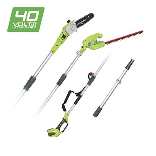 Greenworks 1300607 Potatore e tosasiepi telescopico a batteria 40V al Litio (senza batteria e...