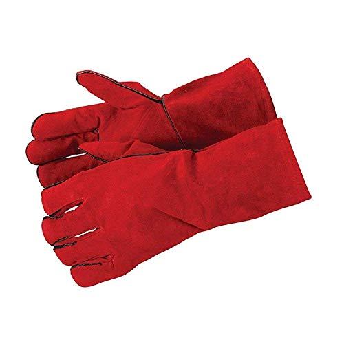 Fztey - Guanti per saldatori per alte temperature, per stufe e barbecue, colore rosso Rosso