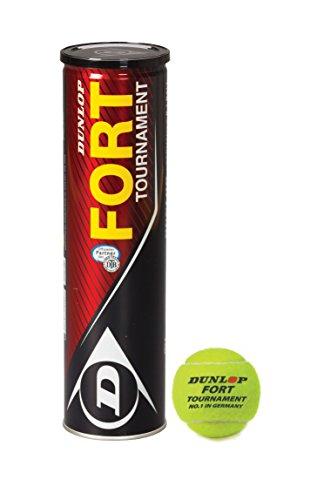 Dunlop Fort Tournament | 4 ballen | ITF-goedgekeurd | Gasgevuld | Eersteklas speelgedrag | Carbon Core rubbersamenstelling | Fluoro Cloth vilt