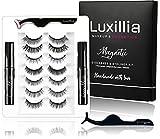 Luxillia by Amazon 8D Magnetic Eyelashes with Eyeliner Kit (7 Set 2 Liner) Free Applicator and Brush - Most Natural Look Lashes Set, 3x Stronger Eyelash Magnets, Reusable False Lash, Waterproof Liquid Eye Liner