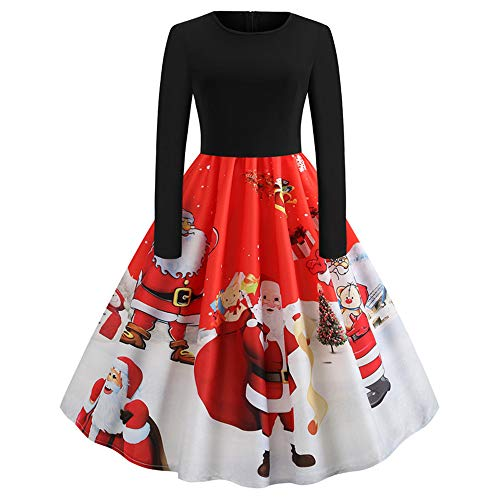 HULKY Solde Donne di Natale A Manica Lunga O Collo Stampa Vintage Abito da Sera Partito Abito Donna Vestito Elegante Praka Boho Vestito(Rosso,XX-Large)