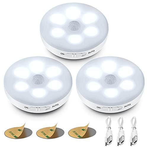 (3 Pezzi) Luce Notturna LED Interna,Luce Armadio, Sensore di Movimento per Luci,3 modalit (Auto/On/Off)Luci LED a Batteria Ricaricabile con Striscia Magnetica Adesivo per Scale, Corridoi, Garage.