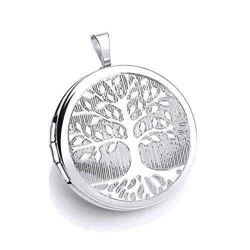 Silver Tree Of Life Engraved Pattern Locket for Women - Engravable - 925 Sterling Silver
