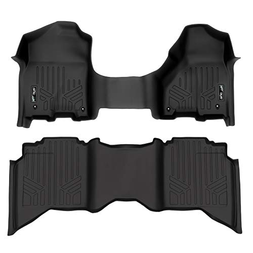 SMARTLINER Floor Mats 2 Row Liner Set Black for 2012-2018 Ram 1500/2500/3500 Crew (4 Full Size Doors) with 1st Row Bench Seat