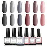 Modelones Gel Nail Polish Set - Nude Gray Series 6 Colors Gel Polish Set Kit UV LED Soak Off Gel Polish 0.33 OZ 10ML