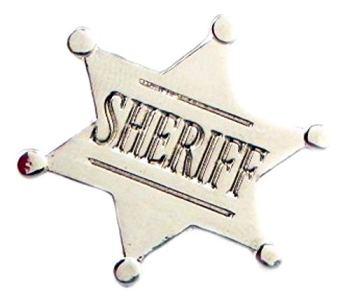 Metal Enamel Pin Badge (25mm) Wild West Sheriff Sherrif Star (Chrome Finish)