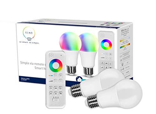 tint von Müller-Licht Smartes Starter 2er-Set: 2x LED Lampe E27, Birnenform, white-color (Weißtöne und farbiges Licht), dimmbar, Zigbee, funktioniert mit Alexa, inkl. Fernbedienung