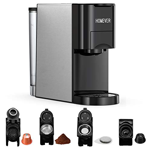 Machine à café multi-capsules Homever 4 en 1, adaptée aux grandes/petites capsules de café, capsules de thé et café en poudre, 19 bars, acier inoxydable