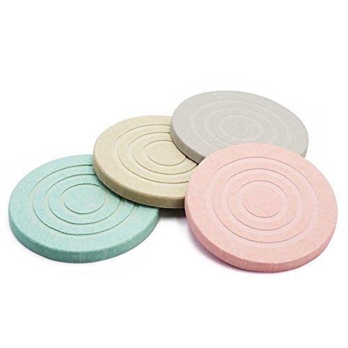 ESEOE 吸水 滑り止め ホルムアルデヒドを消除する 珪藻土コースター 自然素材でエコ 四色セット (ネジパターン) 珪藻土コースターを買って損をした理由。メリットとデメリットを解説!【100均】