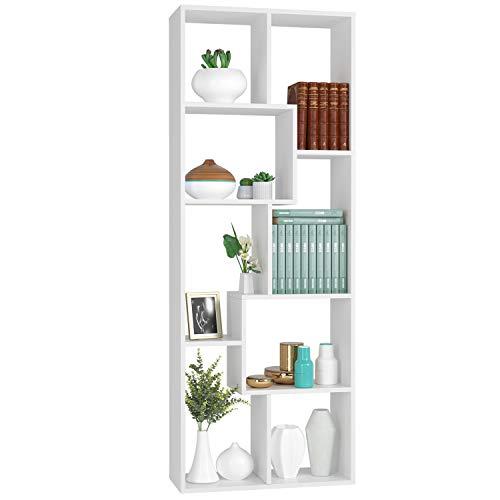 Homfa Scaffale Legno Libreria da Muro Mobile da Terra in MDF per Ufficio, Studio, Ingresso, Disegno...